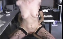 Tramp in boots and stockings fucks passionately