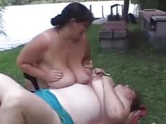 Hefty lesbos licking and fingering