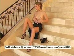 Kymberly, from ftv girls, superb redhead hottie undresses on stairs