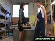 Clothed workbench wench sucks dudes cock hard