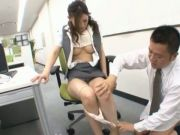 Haruka Sasaki gets a kinky pussy exam in in office chair