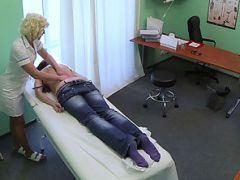 Beautiful patient gets a hot and wild massage in the table by the horny nurse