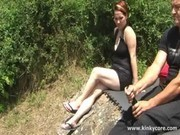 Outdoors in champagne enema