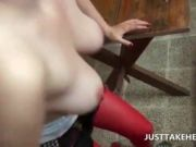 Stockinged nymph banged on a table in POV