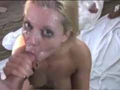 Blonde face fucked and gangbanged