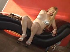 Gorgeous blonde shemale plays alone
