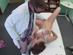 Fake doctor removes a sex toy from a female patient and then fucks her