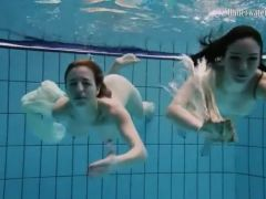 Nearly naked girls go swimming in the pool