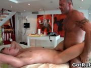 Hunky guy gets oiled up and gay massaged segment