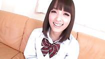Extreme close up on Japanese schoolgirl pussy