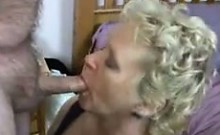 Short-Haired Blonde Granny In Stockings