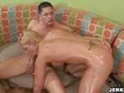 Huge tits Heidi Mayne bows down her head and munch a hard meat cock