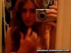 Skinny Teen Touches herself in selfshot video