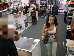 Big boobs Latina fucked in the pawnshop