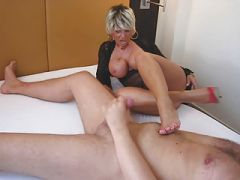 Lady Barbara face sitting and stroking a cock