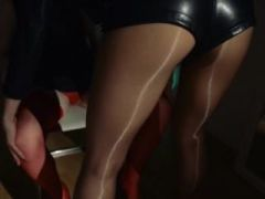 Unique girl2girl in pantyhose using strap