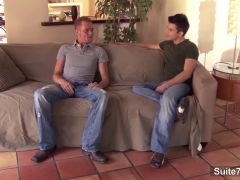 Gays in jeans fucking hard on the couch