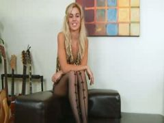 blondie with black lingerie and toy