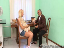 Connie bended over the table and the teacher spanked her.