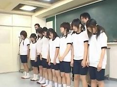 All the Japanese School Girls Stripping Their Dress to Get Naked In Classroom