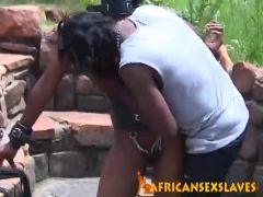 Ebony hottie tortured outdoors
