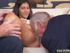 Young girl with virgin old man in kitchen first time This time they get