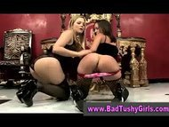Lesbian in stockings gets spanked