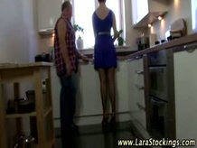 Euro doll in Pantyhose gets her puusy eaten in mature sex