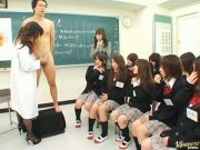Schoolgirls having handjob sex