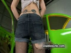 Horny tattoo model with amazing