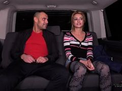 Rescued blonde help to stranger in van with her perfect body