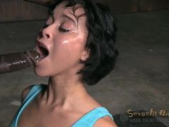 Slut with bound hands face fucked by two guys