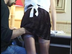 French maid cleaning cock