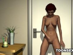 3D cartoon redhead babe plays with herself in bed