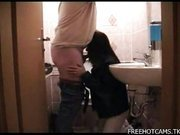 Blowjob on toilet