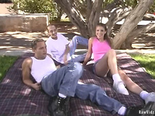 Horny studs in outdoors threesome
