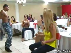 Horny chicks party with male strippers\' cocks