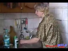 Russian moms Irina having sex in the kitchen