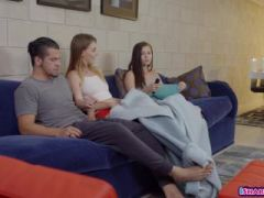 Exhibitionist couple share a cute roomie in the living room