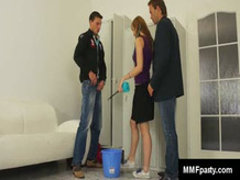 Hot Blond maid gives Blow Jobs to two Bisex boys
