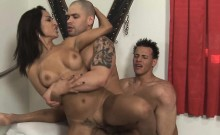 Naughty girlie is having a lot of joy with her bisexual bfs