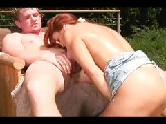Throbbing boner drilling busty red head outdoors