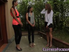 Glam Clothed Les 3some