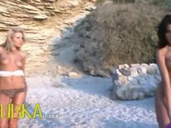 Charmingly hot babes naked on the beach video