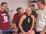 Chubby amateur gang bang