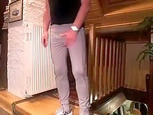 Pissing , bulging in very tight trackies