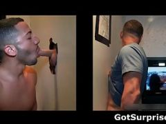 Sexy stud gets his massive white penis sucked through gloryhole by nasty gay dude 2 by GotSurprise