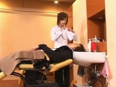 Asian model is a hairdresser in a sexy