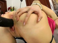 Ann Marie is a cute babe with deep ass hole. She is awesome and she wants her boyfriend to fuck her in her anus with big black strap on. He does it wi