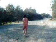 naked in road